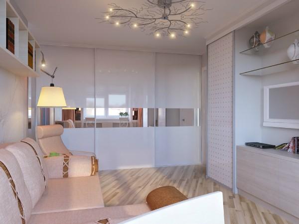 стильный белый шкаф купе в гостиную