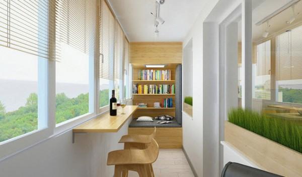 стильный дизайн небольшого балкона с барной стойкой