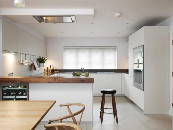 стильный интерьер в белом цвете угловой кухонный гарнитур для кухни