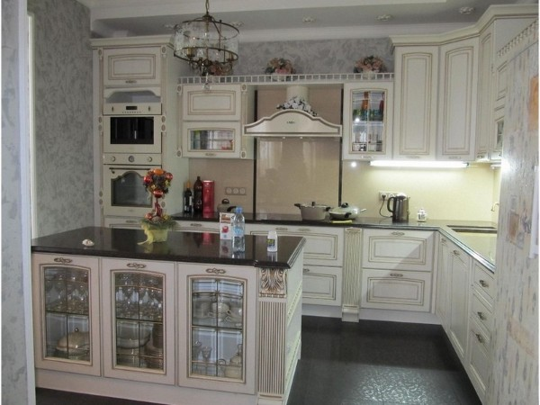 светлая винтажная модель угловой кухонный гарнитур для кухни