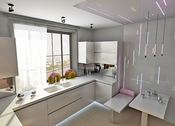 светло-серая маленькая угловая кухня