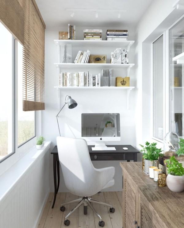 светлый дизайн балкона маленького размера рабочий кабинет