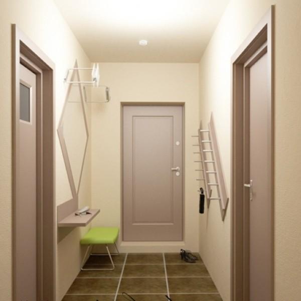 светлый простой дизайн коридора в квартире