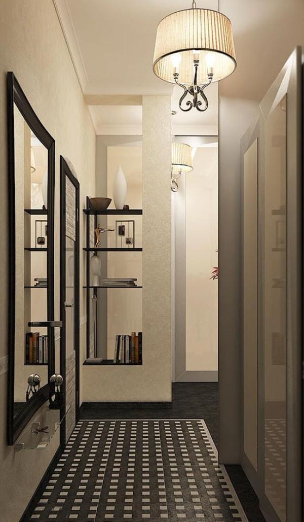 светлые тона в дизайне коридоров однокомнатных квартир