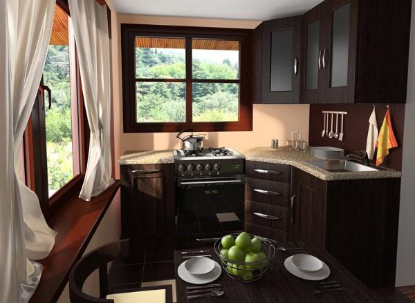 тёмно-коричневый дизайн маленькой угловой кухни со шкафчиками до потолка