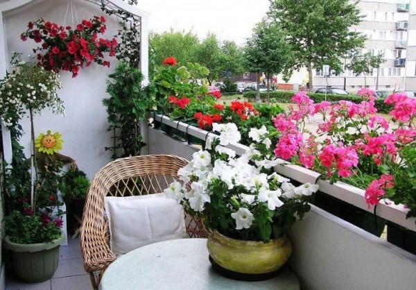 цветочный дизайн маленького балкона