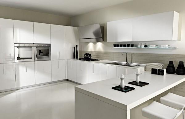 угловой кухонный гарнитур белого цвета для кухни в стиле минимализм фото