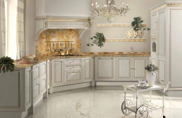 угловой кухонный гарнитур для большой кухни барокко