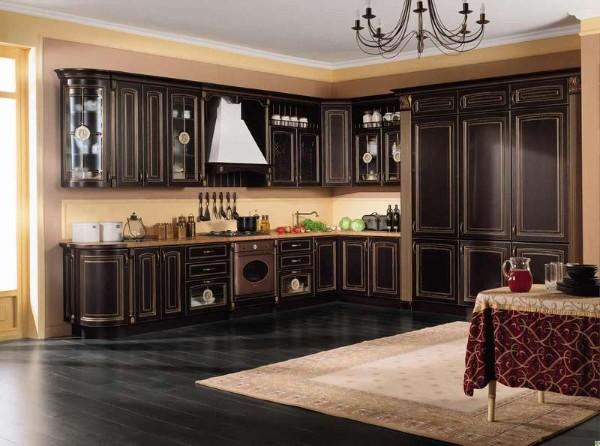 угловой кухонный гарнитур для большой кухни фото