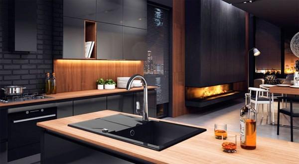 угловой кухонный гарнитур для большой кухни хай тек