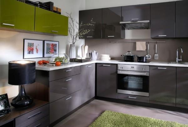 угловой кухонный гарнитур для кухни мокрый асфальт