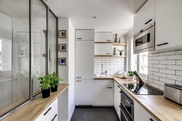 угловой кухонный гарнитур для кухни в скандинавском стиле