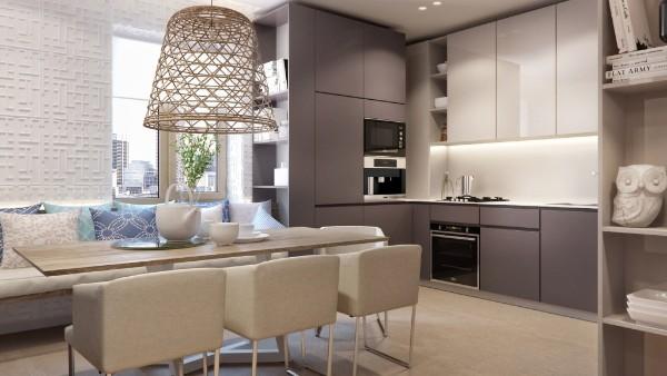 угловой кухонный гарнитур для маленькой кухни студии кофейного цвета