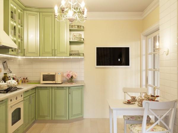 угловой кухонный гарнитур для маленькой кухни в стиле прованс