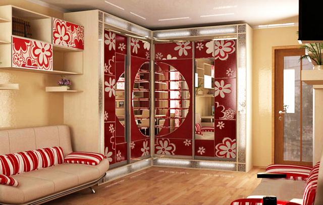 угловой шкаф купе в гостиную фото дизайн красивый