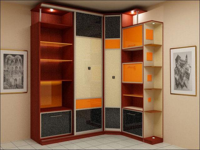 угловые шкаф купе в гостиную фото