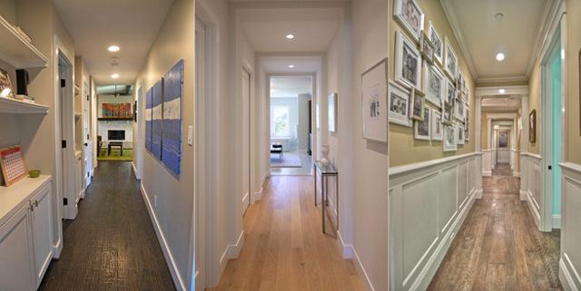 узкий длинный коридор в квартире дизайн фото