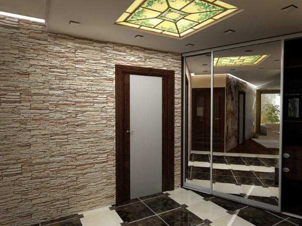 винтажное стекло на потолке и искусственный камень в отделке коридора в квартире пример дизайна