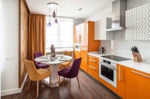 ярко оранжевый цвет в дизайне фасада кухни