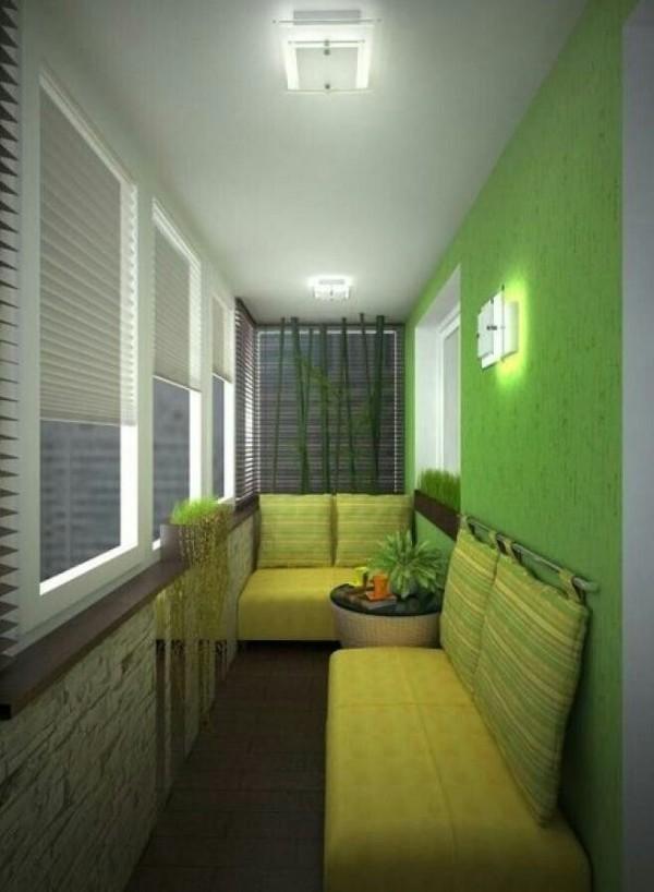 зелёный дизайн маленького балкона зона отдыха