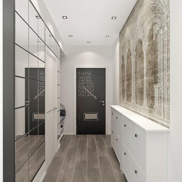 зеркальный декор в дизайне коридора в квартире