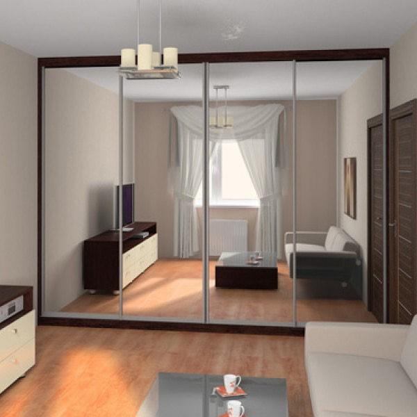 зеркальные фасады шкаф купе в гостиную