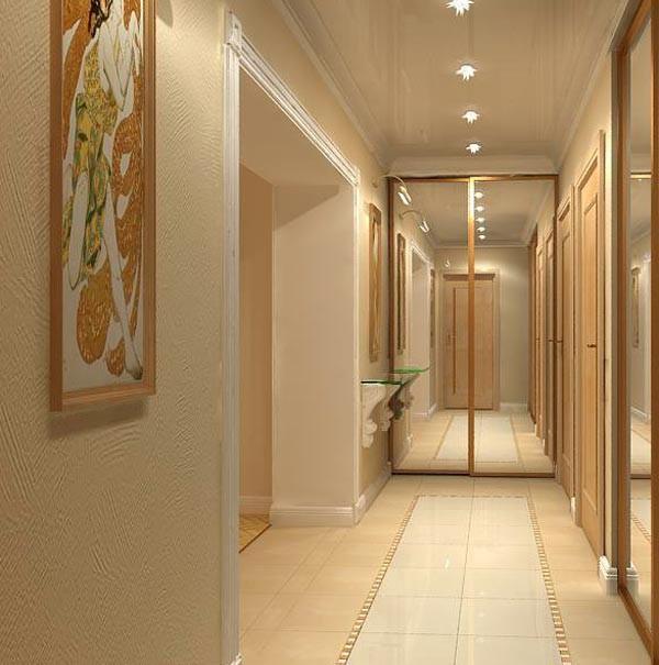 зеркальные фасады в дизайне длинного коридора в квартире фото
