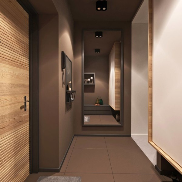 зеркало и шоколадный цвет в дизайне коридора в квартире