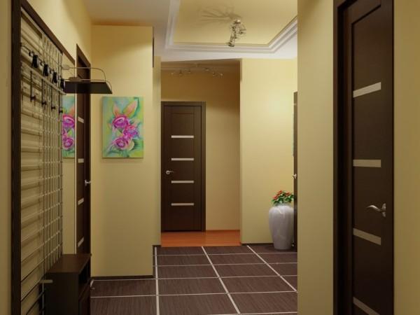 жёлтый дизайн коридора в квартире