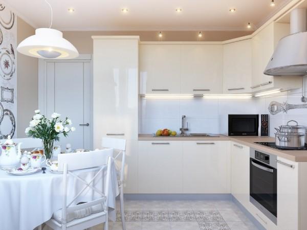 жемчужный кухонный гарнитур для маленькой кухни