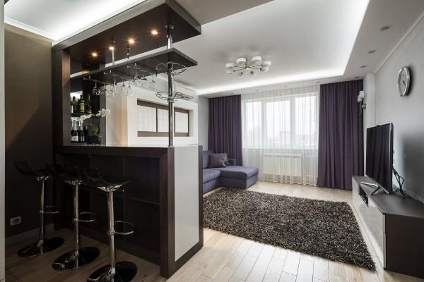 барная стойка с подсветкой дизайн кухни студии