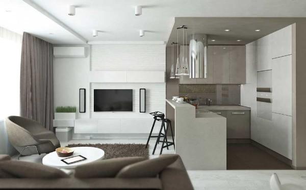 бело серый дизайн кухни студии