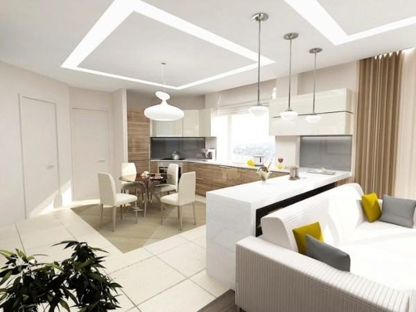 белый дизайн кухни студии