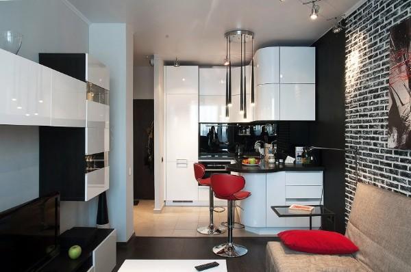 чёрно-белый дизайн кухни студии