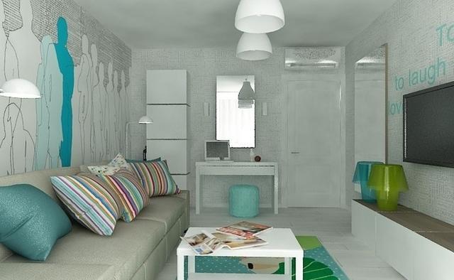 дизайн интерьера для однокомнатной квартиры фото