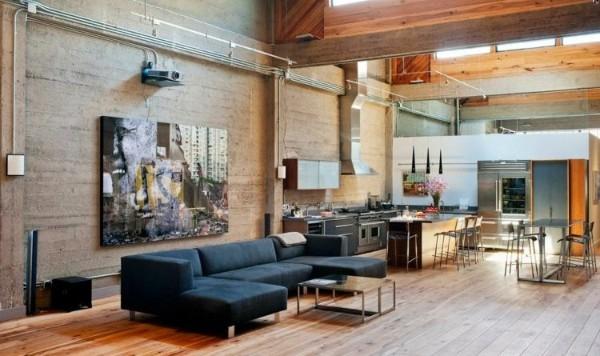 дизайн кухни студии большой просторный лофт