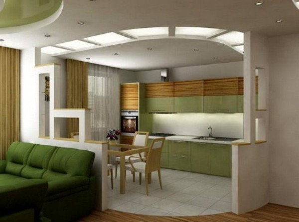 дизайн кухни-студии гипсокартонная конструкция