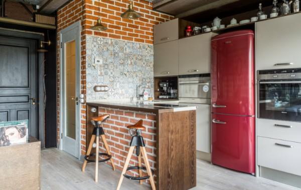 дизайн кухни студии лофт