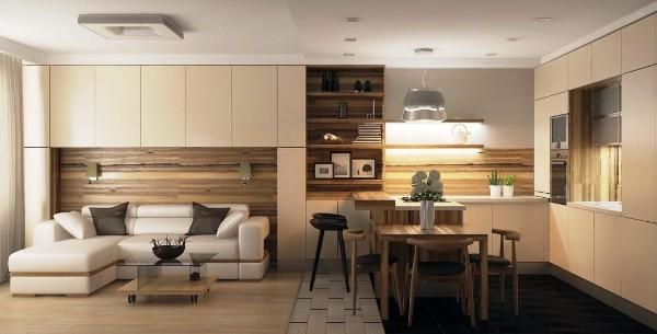 дизайн кухни студии обеденный стол в качестве разделения зон