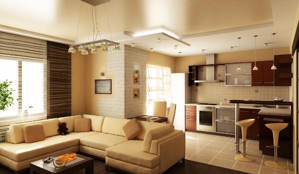 дизайн кухни студии отделка зоны потолка и напольное покрытие другого цвета