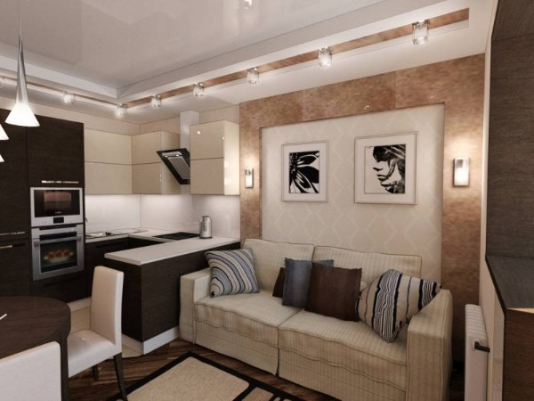 дизайн кухни студии площадь 16 квадратов