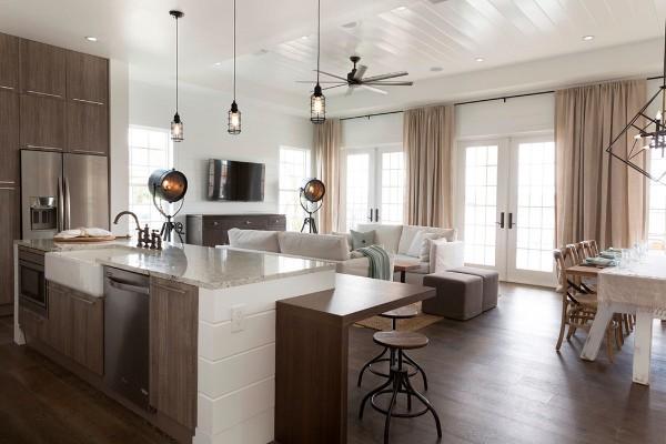 дизайн кухни студии спокойные тона и немного лофта