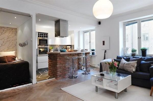 дизайн кухни студии стол из кирпича