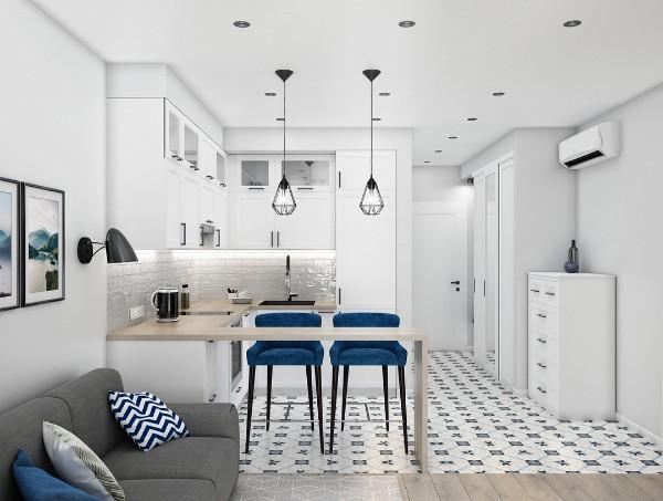 дизайн кухни студии в минималистическом дизайне