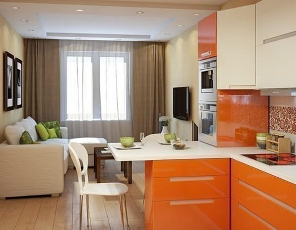 дизайн кухни студии в небольшой квартире