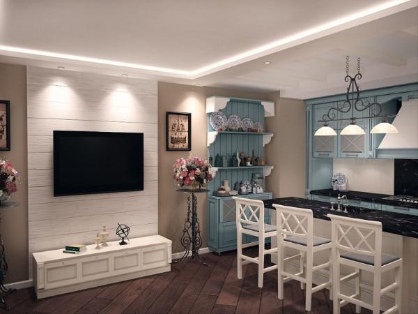 дизайн кухни студии в стиле прованс