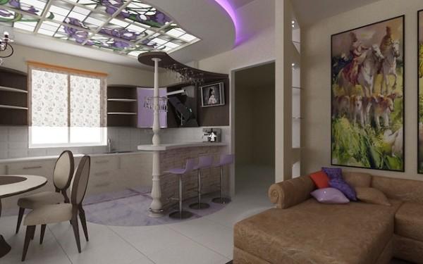 дизайн кухни студии витражи на потолке