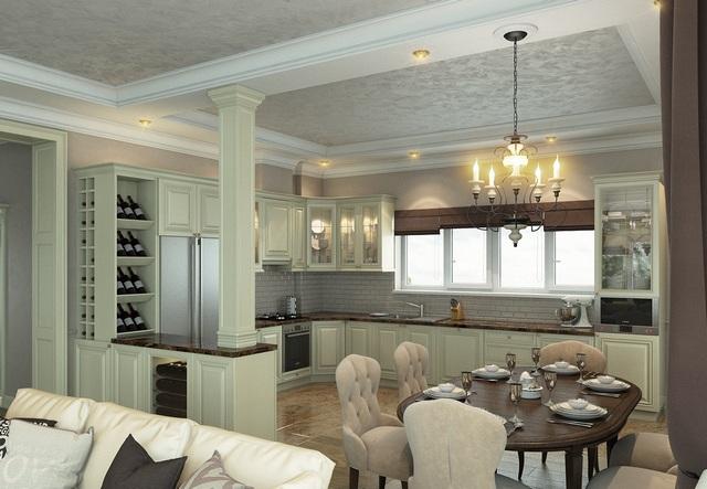 дизайн кухни в качестве столовой гостиной в частном доме