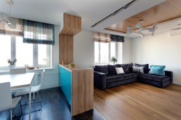 дизайн кухня студия разделение пространства