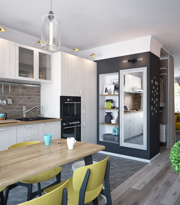 дизайн однокомнатной квартиры кухня